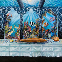 Oil painting Red Fishes Last supper  by Richard Ficker