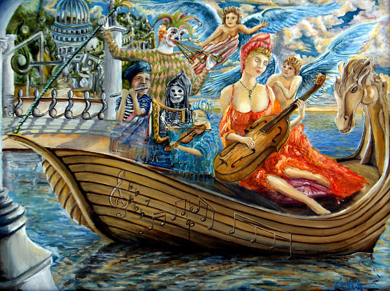 Oil painting In The Same Boat by Richard Ficker
