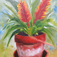Oil painting 12x9 Bromelaid320160509_124830 by Barbara Haviland