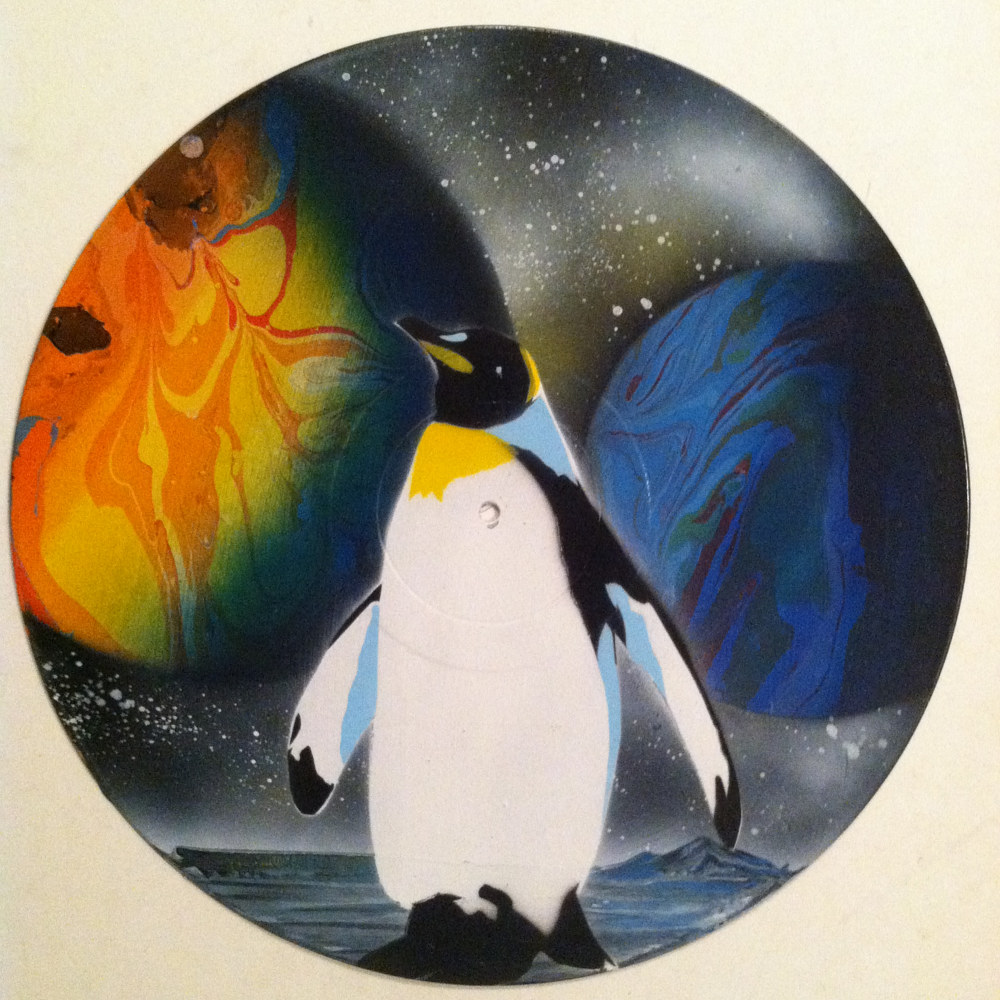 Planet Of The Penguins  - Painting on Vinyl Record by Mr Mizu by Isaac Carpenter
