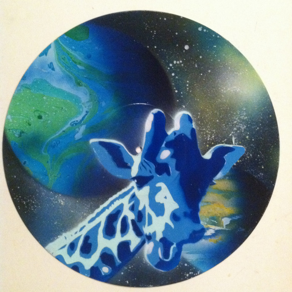 Blue Giraffe  - Painting on Vinyl Record by Mr Mizu by Isaac Carpenter