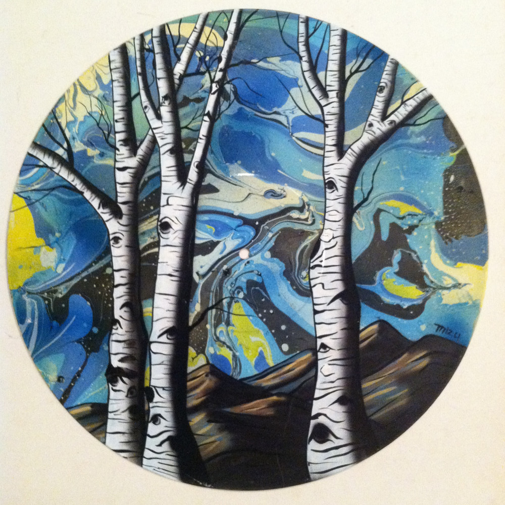 Aspen Trees  - Painting on Vinyl Record by Mr Mizu by Isaac Carpenter