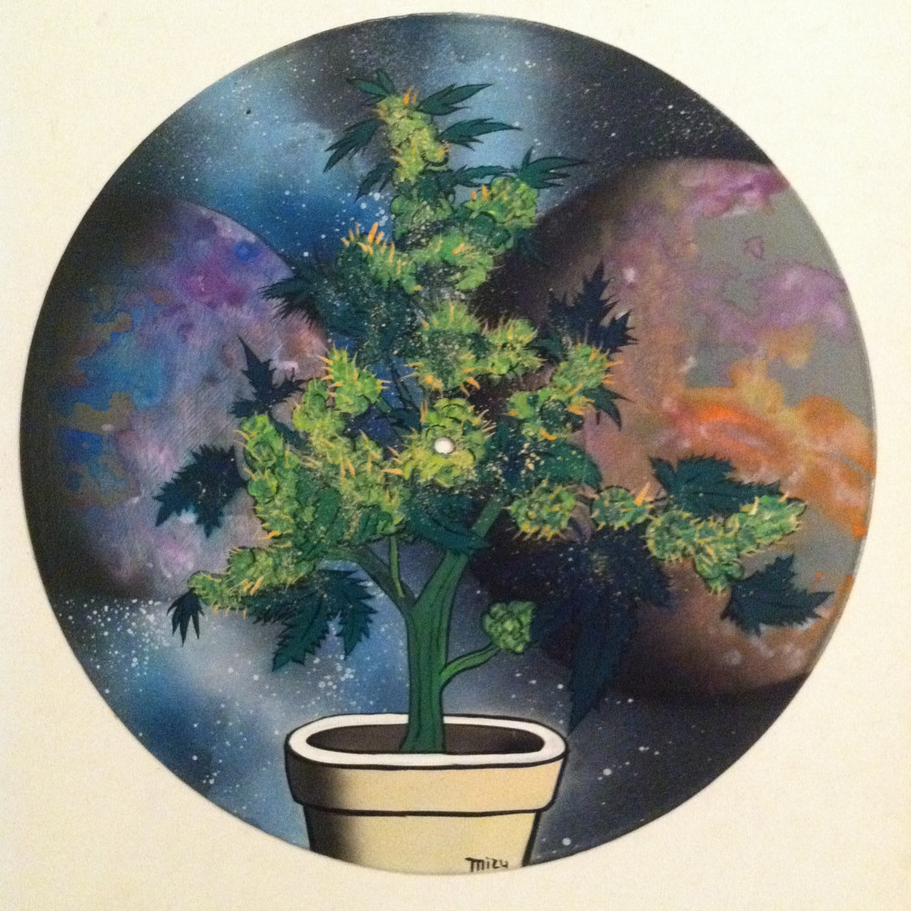 Space Cheese Cannabis Painting on Vinyl Record by Mr Mizu by Isaac Carpenter