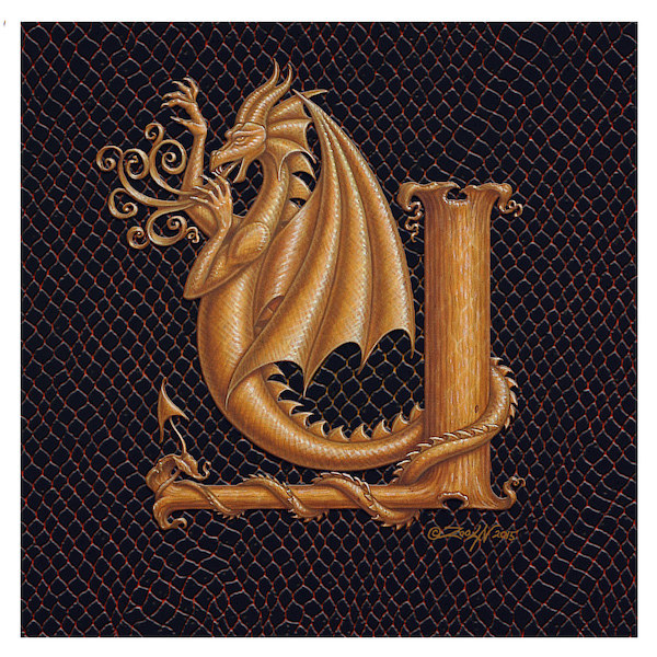 "Print Dracoserific Letter Y, Gold on Jet Black 6x6""Square by Sue Ellen Brown"