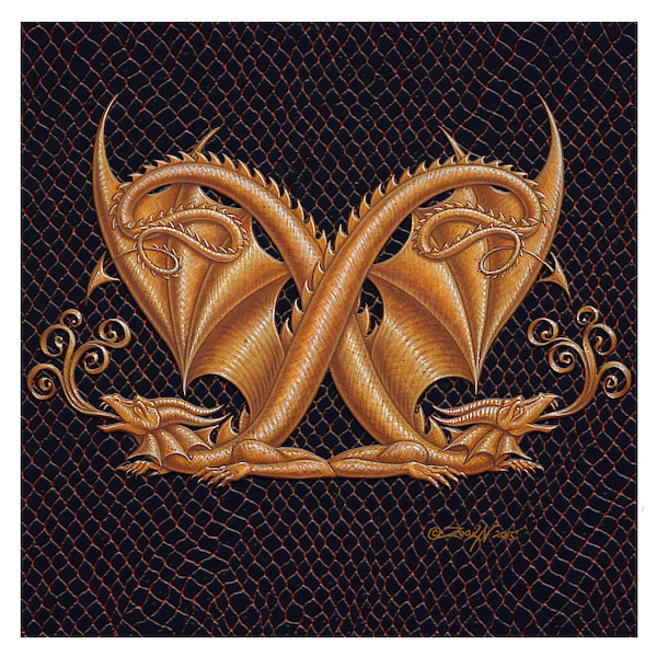 "Print Dracoserific Letter X, Gold on Jet Black 6x6""Square by Sue Ellen Brown"