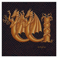 "Print Dracoserific Letter W - 1.0, Gold on Jet Black 6x6""Square by Sue Ellen Brown"