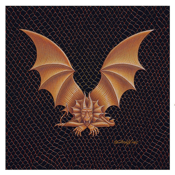 "Print Dracoserific Letter V, Gold on Jet Black 6x6""Square by Sue Ellen Brown"