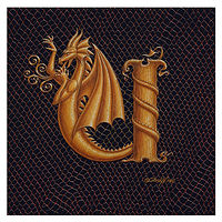 "Print Dracoserific Letter U, Gold on Jet Black 6x6""Square by Sue Ellen Brown"