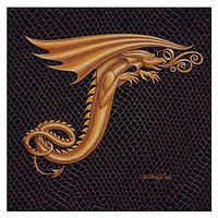 "Print Dracoserific Letter T - 3.0, Gold on Jet Black 6x6""Square by Sue Ellen Brown"