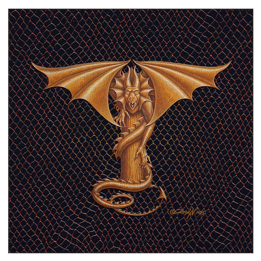 "Print Dracoserific Letter T - 1.0, Gold on Jet Black 6x6""Square by Sue Ellen Brown"