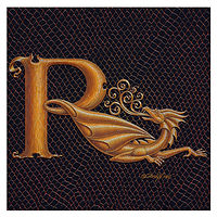 "Print Dracoserific Letter R, Gold on Jet Black 6x6""Square by Sue Ellen Brown"