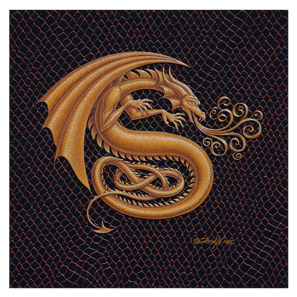"Print Dracoserific Letter S, Gold on Jet Black 6x6""Square by Sue Ellen Brown"