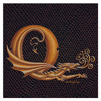 "Print Dracoserific Letter Q, Gold on Jet Black 6x6""Square by Sue Ellen Brown"