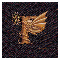 "Print Dracoserific Letter P, Gold on Jet Black 6x6""Square by Sue Ellen Brown"