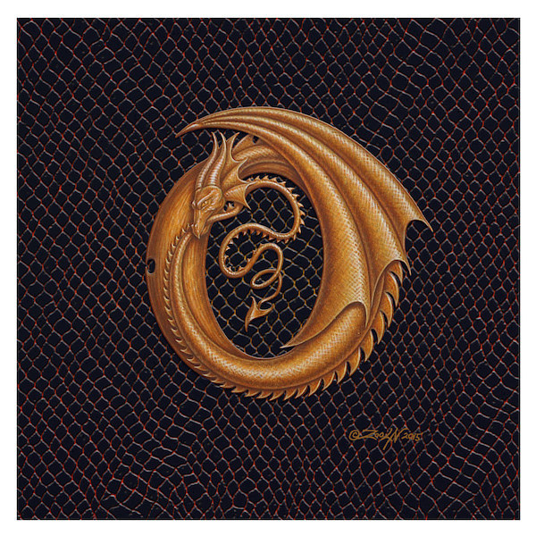 "Print Dracoserific Letter O, Gold on Jet Black 6x6""Square by Sue Ellen Brown"
