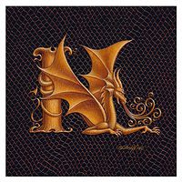 "Print Dracoserific Letter N, Gold on Jet Black 6x6""Square by Sue Ellen Brown"