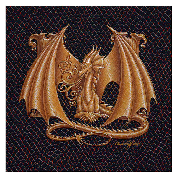 "Print Dracoserific Letter M, Gold on Jet Black 6x6""Square by Sue Ellen Brown"
