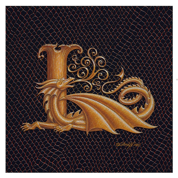 "Print Dracoserific Letter L, Gold on Jet Black 6x6""Square by Sue Ellen Brown"