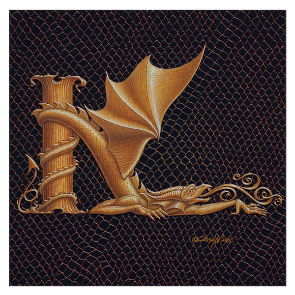 "Print Dracoserific Letter K, Gold on Jet Black 6x6""Square by Sue Ellen Brown"