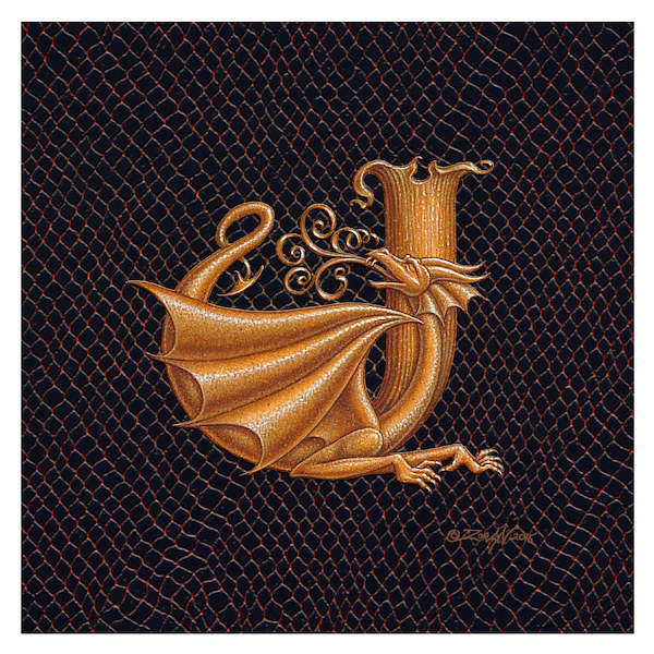 "Print Dracoserific Letter J, Gold on Jet Black 6x6""Square by Sue Ellen Brown"