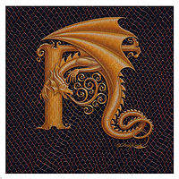 "Print Dracoserific Letter H, Gold on Jet Black 6x6""Square by Sue Ellen Brown"
