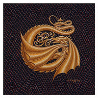 "Print Dracoserific Letter G, Gold on Jet Black 6x6""Square by Sue Ellen Brown"