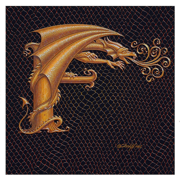 "Print Dracoserific Letter F, Gold on Jet Black 6x6""Square by Sue Ellen Brown"