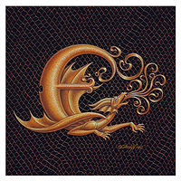"Print Dracoserific Letter E, Gold on Jet Black 6x6""Square by Sue Ellen Brown"