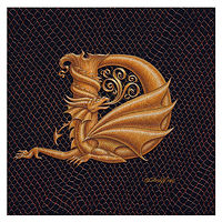"Print Dracoserific Letter D, Gold on Jet Black 6x6""Square by Sue Ellen Brown"