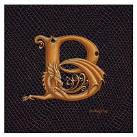 "Print Dracoserific Letter B, Gold on Jet Black 6x6""Square by Sue Ellen Brown"