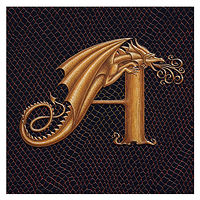 "Print Dracoserific Letter A, Gold on Jet Black 6x6"" Square  by Sue Ellen Brown"