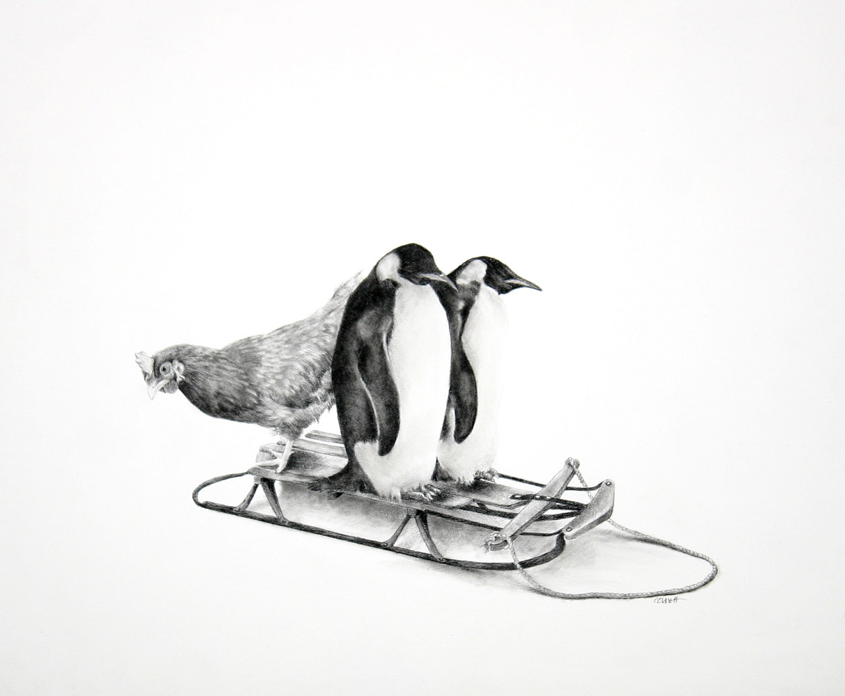 Drawing Three Birds on a Sled by Ellen Cornett