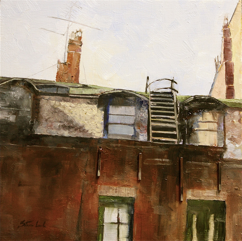 Oil painting Newbury Street Rooftops......SOLD! by Nella Lush