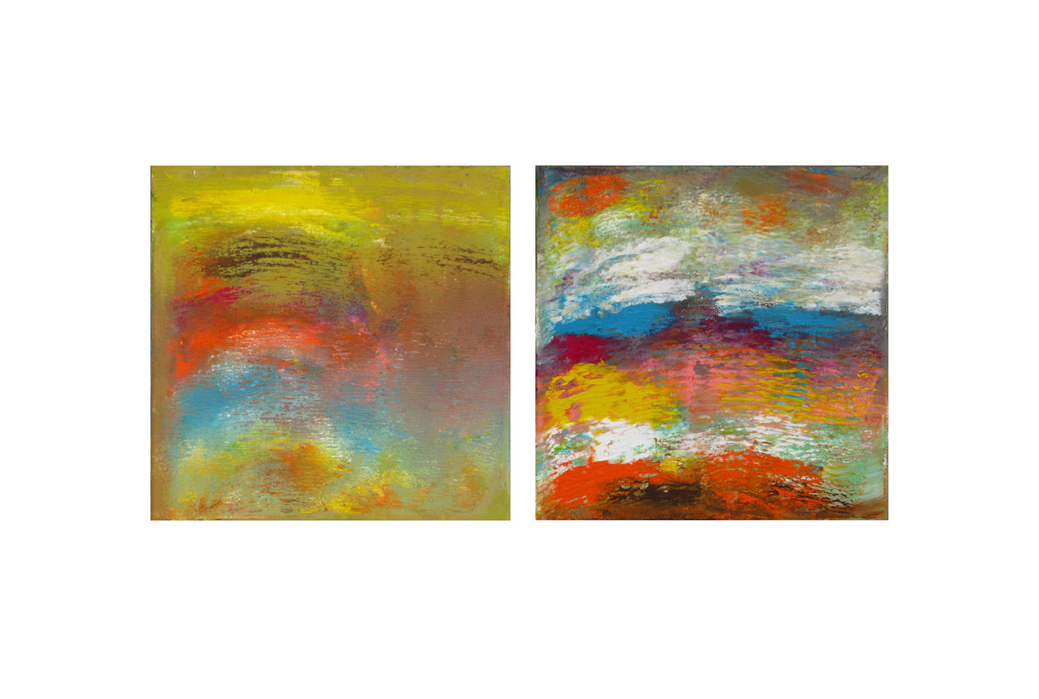 Acrylic painting Color Storm Rainbow, 8x8 inches each by Hooshang Khorasani