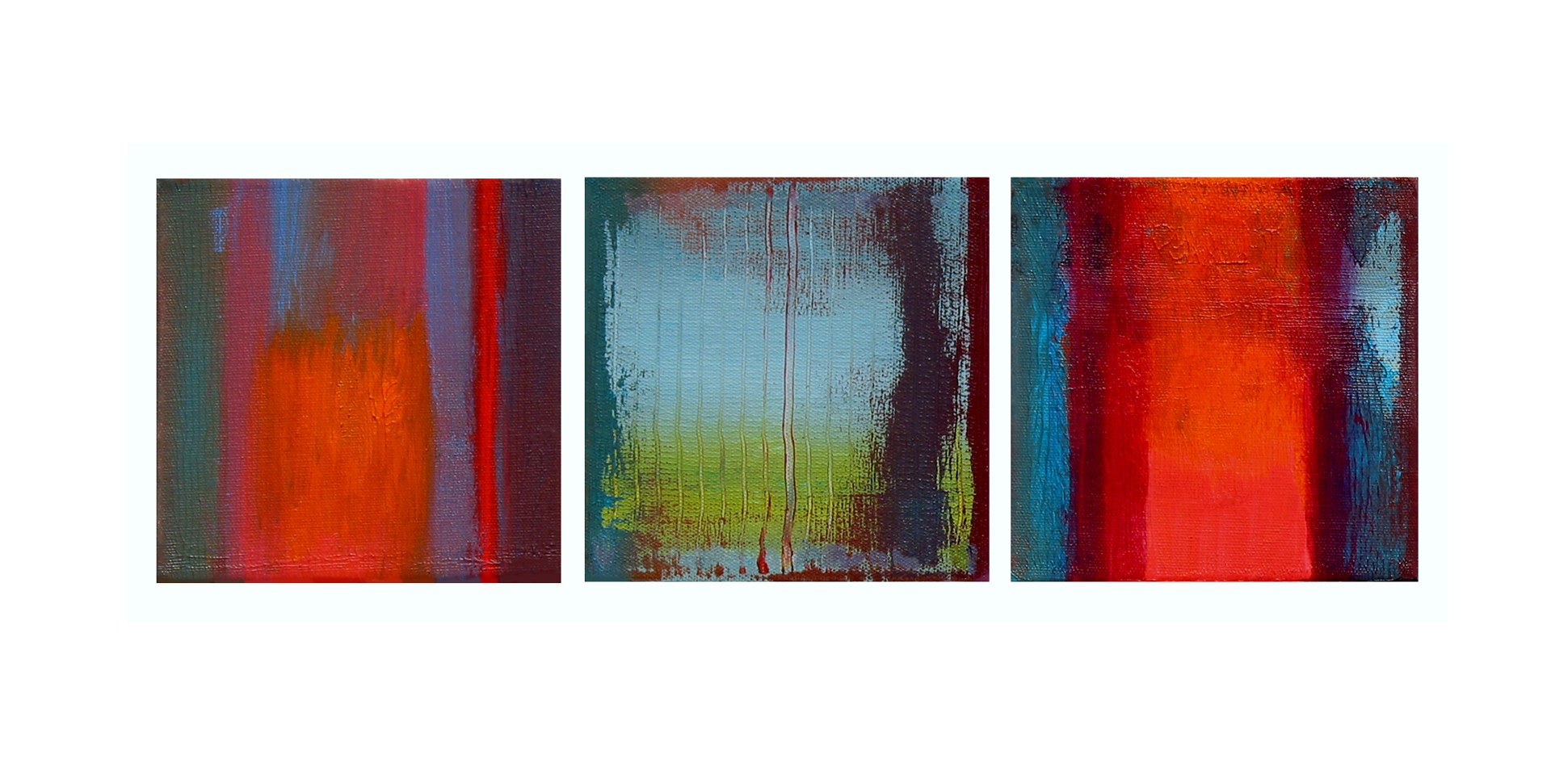 Acrylic painting Fall Landscape, 6x6 inches each by Hooshang Khorasani