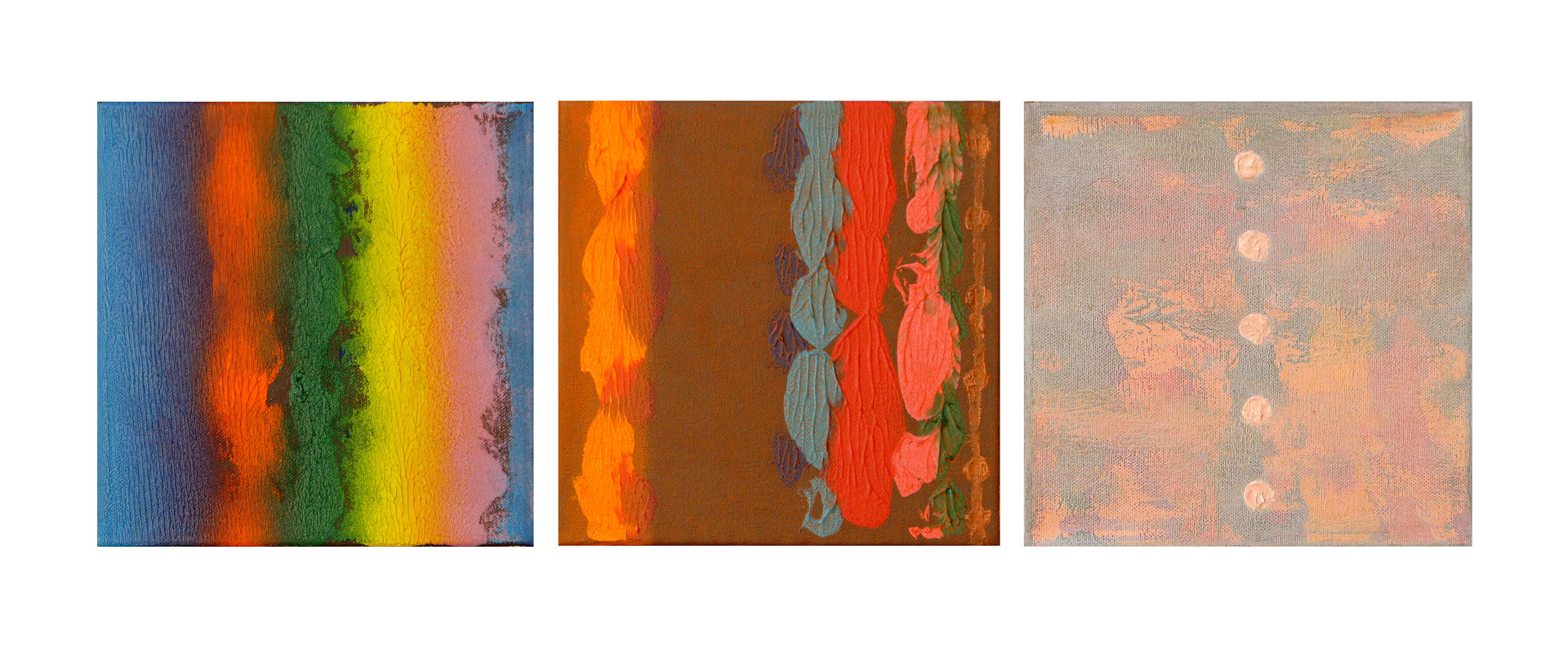 Acrylic painting Decorative Trio II, 8x8 inches each by Hooshang Khorasani