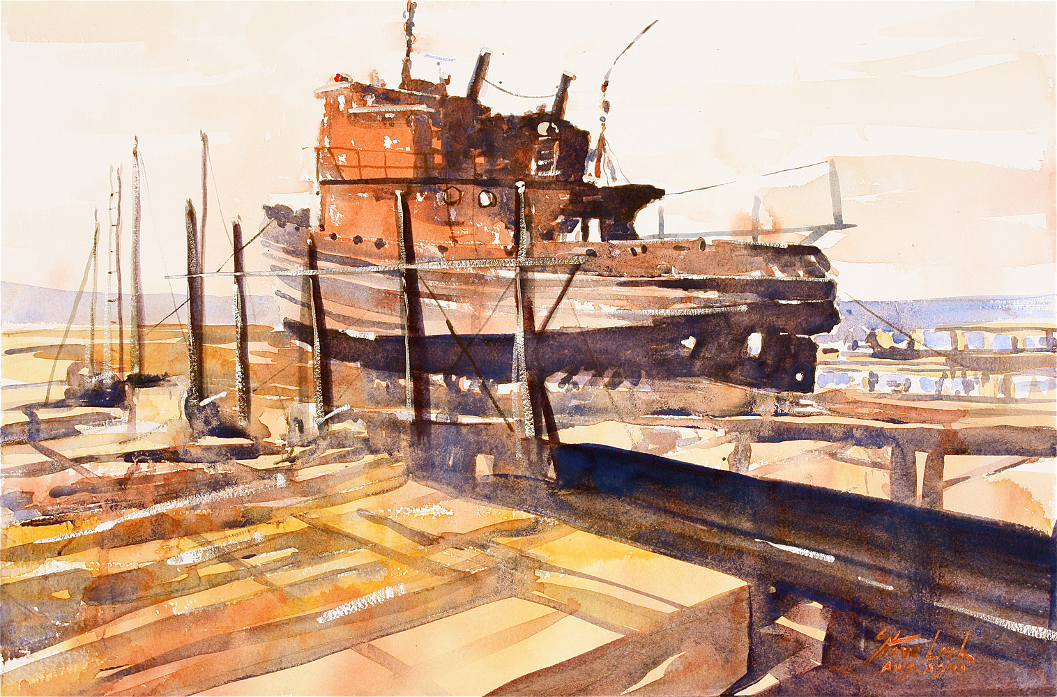 Watercolor Gloucester Marine Railway by Nella Lush