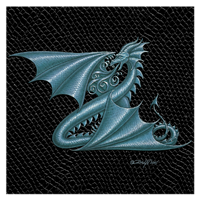 "Print Dragon Z, 8""x8"" Silver on Jet Black Dragonskin   by Sue Ellen Brown"