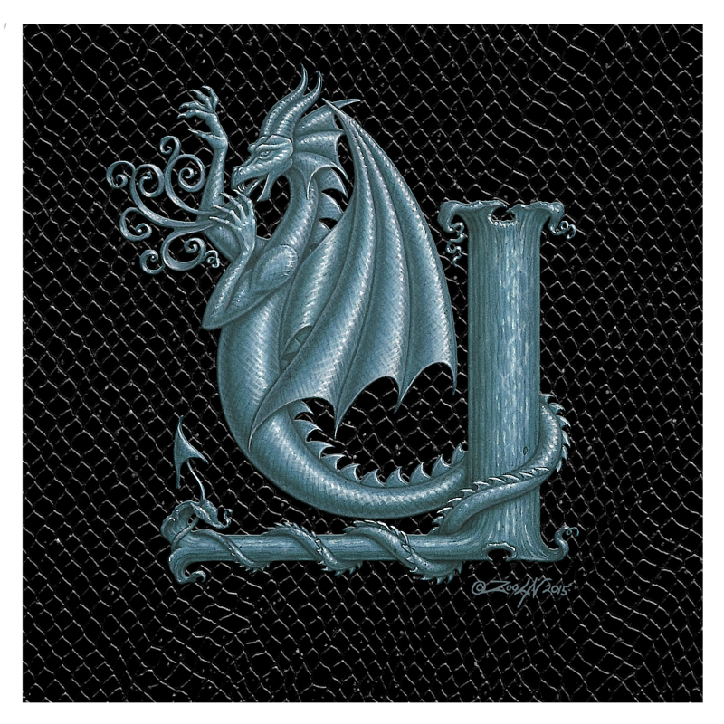 "Print Dragon Letter 'Y', 8""x8"" Silver on Jet Black Dragonskin  by Sue Ellen Brown"