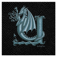 "Print Dragon Letter 'Y', Silver on Jet Black Dragonskin, 8""x8""  by Sue Ellen Brown"