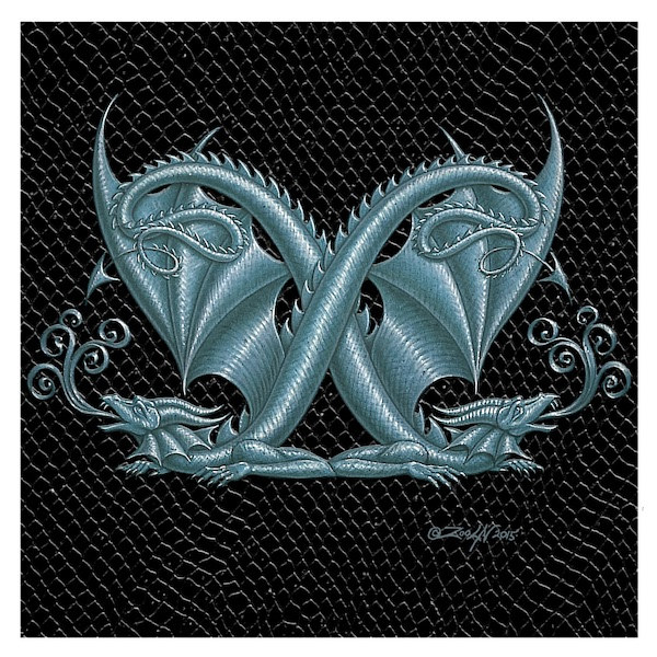 "Print Dragon Letter 'X', 6""x6"" Silver on Jet Black Dragonskin  by Sue Ellen Brown"