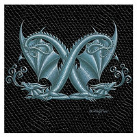 "Print Dragon Letter 'X', Silver on Jet Black Dragonskin, 6""x6"" by Sue Ellen Brown"