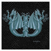 "Print Dragon Letter 'W' 2.0, Silver on Jet Black Dragonskin, 6""x6"" by Sue Ellen Brown"