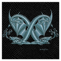 "Print Dragon Letter 'X', Silver on Jet Black Dragonskin, 8""x8""  by Sue Ellen Brown"