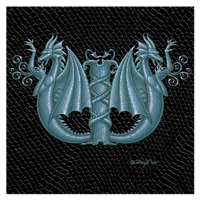 "Print Dragon Letter 'W'2.0, Silver on Jet Black Dragonskin, 8""x8""  by Sue Ellen Brown"