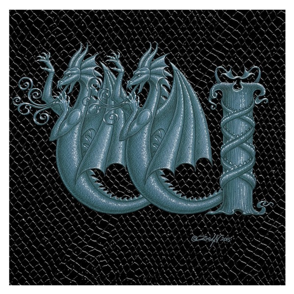 "Print Dragon Letter 'W' 1.0, 6""x6"" Silver on Jet Black Dragonskin  by Sue Ellen Brown"