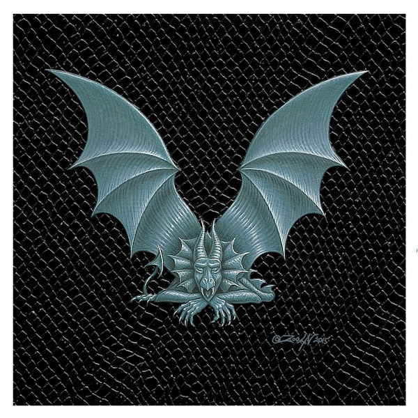 "Print Dragon Letter 'V', Silver on Jet Black Dragonskin, 6""x6"" by Sue Ellen Brown"