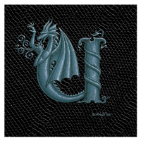"Print Dragon Letter 'U', Silver on Jet Black Dragonskin, 6""x6"" by Sue Ellen Brown"