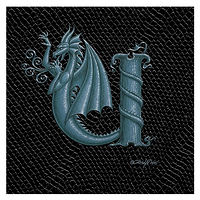 "Print Dragon Letter 'U', Silver on Jet Black Dragonskin, 8""x8""  by Sue Ellen Brown"