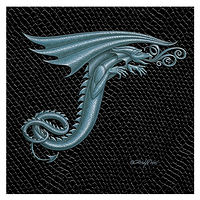"Print Dragon Letter 'T' 3.0, Silver on Jet Black Dragonskin, 6""x6"" by Sue Ellen Brown"